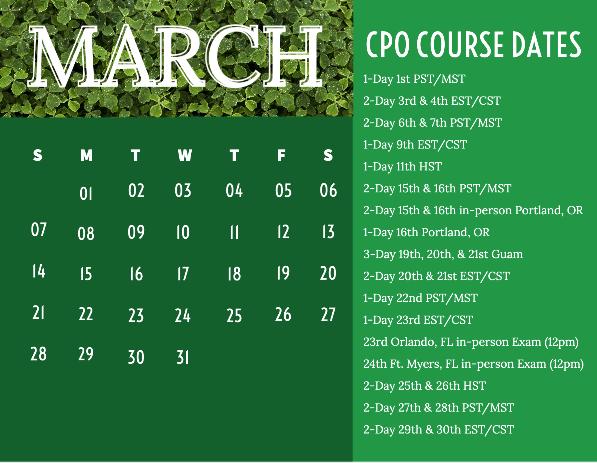 CPO Schedule