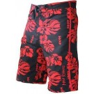 Men's Island Floral Black & Red Boardshort IFBK